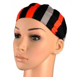 Bandeau rayures noir gris et orange