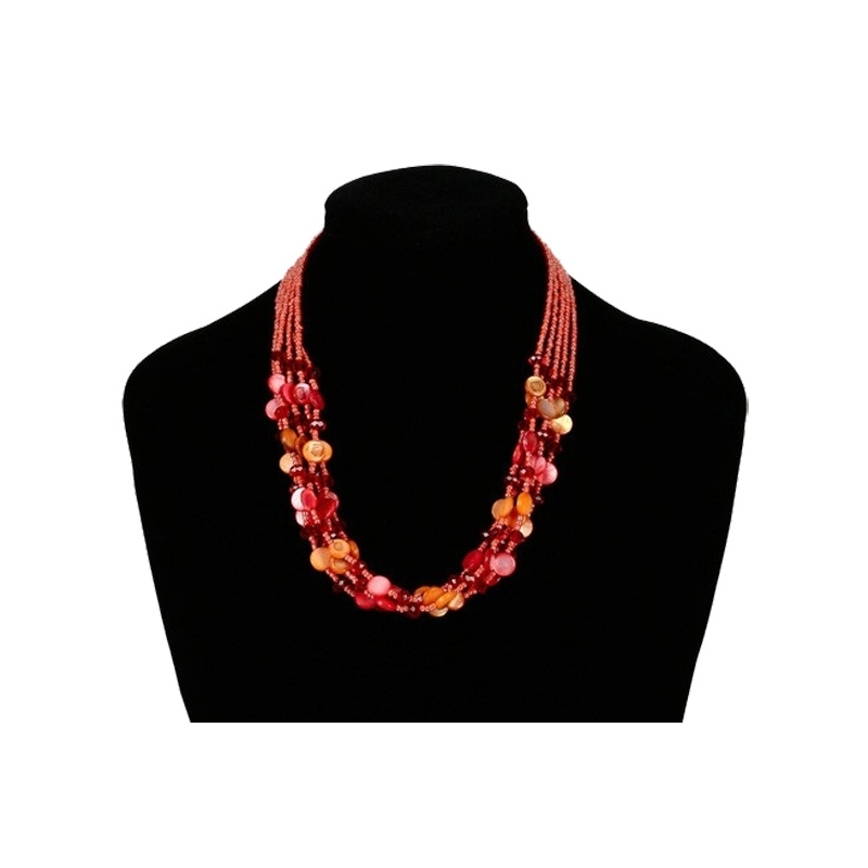 collier en nacre rouge corail et perles. Black Bedroom Furniture Sets. Home Design Ideas