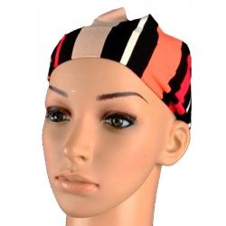 Bandeau rayures noir beige orange rouge
