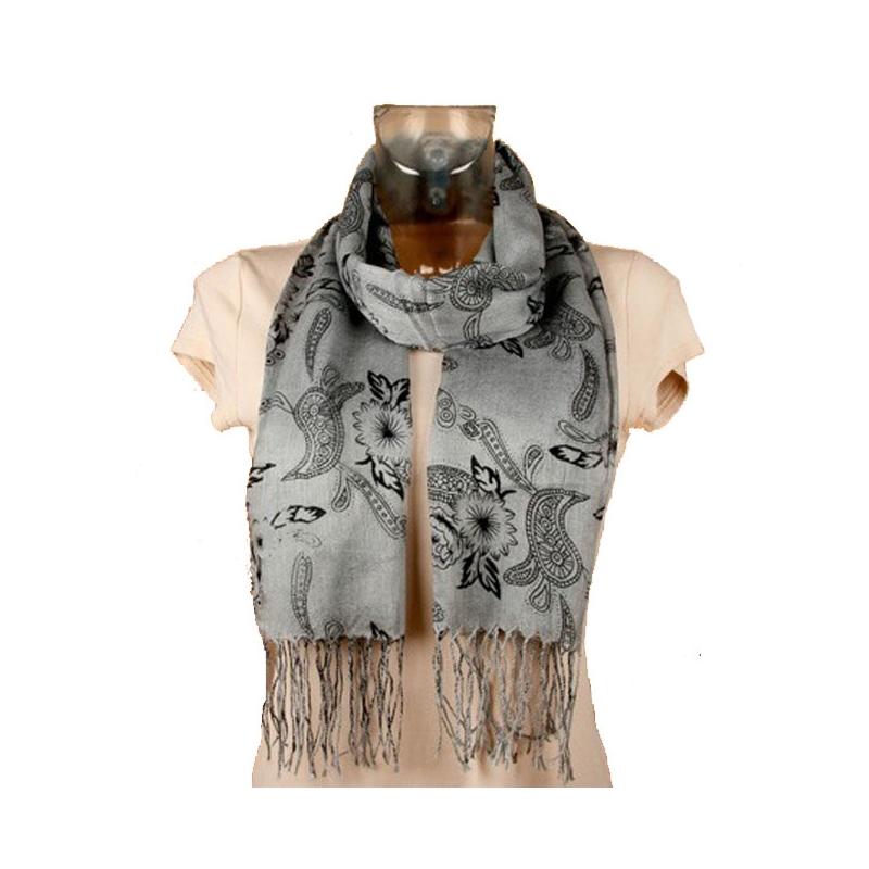 foulard l ger gris et fleurs noire 160 x 55 cm. Black Bedroom Furniture Sets. Home Design Ideas