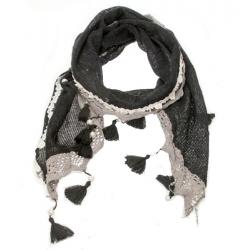 Echarpe hiver noire et grise 170 x 35 cm