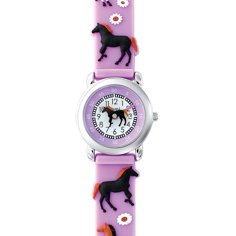 montre domi motif cheval bracelet silicone violet. Black Bedroom Furniture Sets. Home Design Ideas